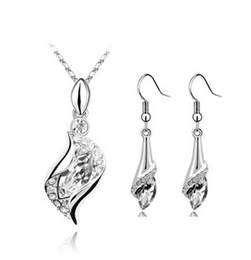 Crystal Teardrop and Crystal Necklace and Earring Set