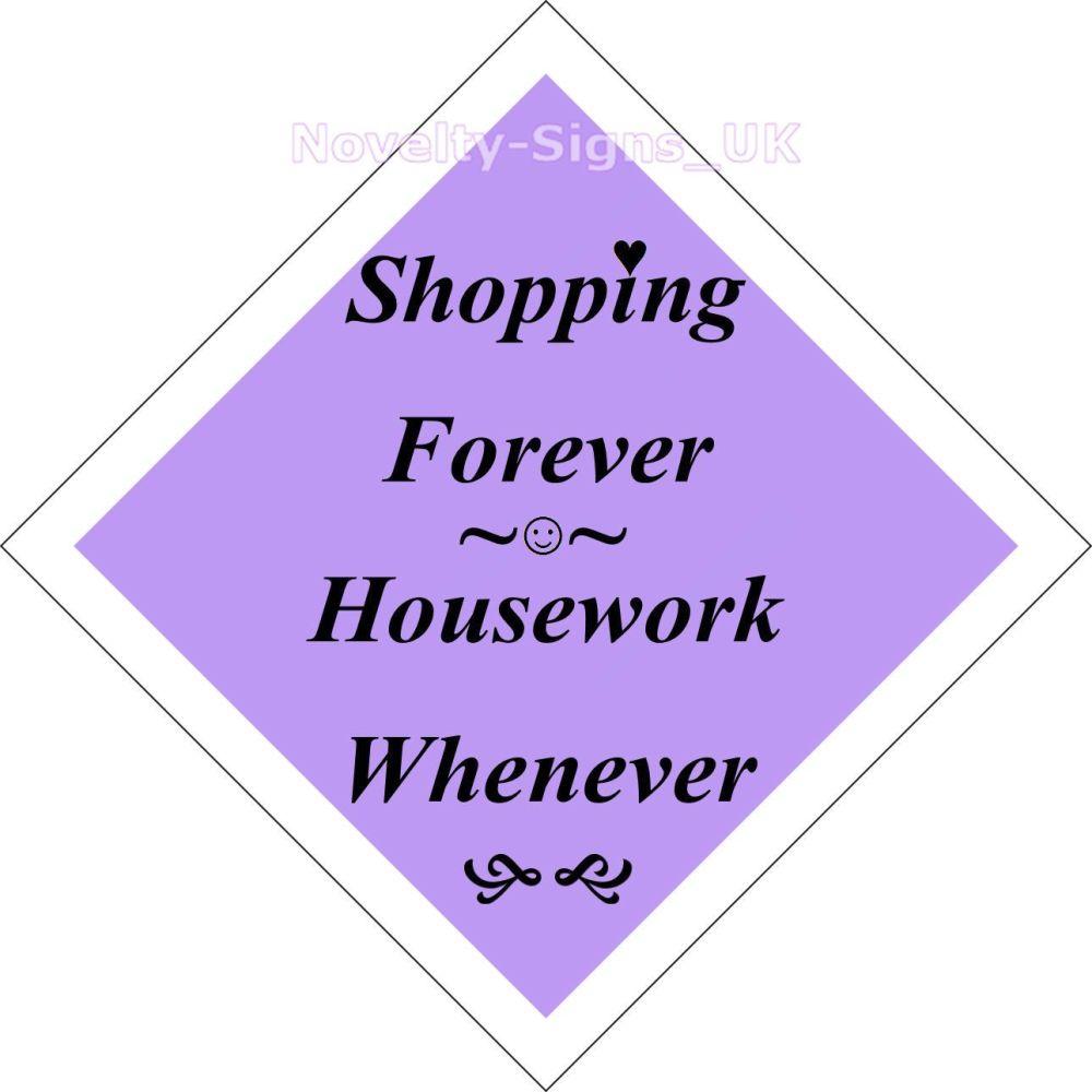 Window car sign, mobile home, caravan sign - Shopping Forever