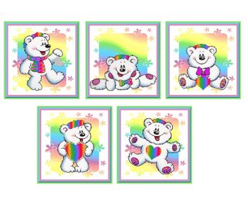 Rainbow Bears Card Making Toppers