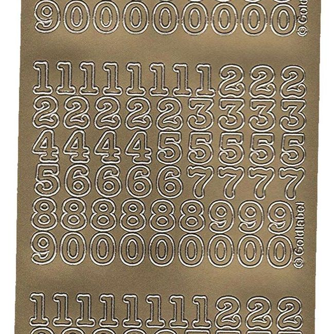 Gold Numbers Peel Off Stickers (10mm)