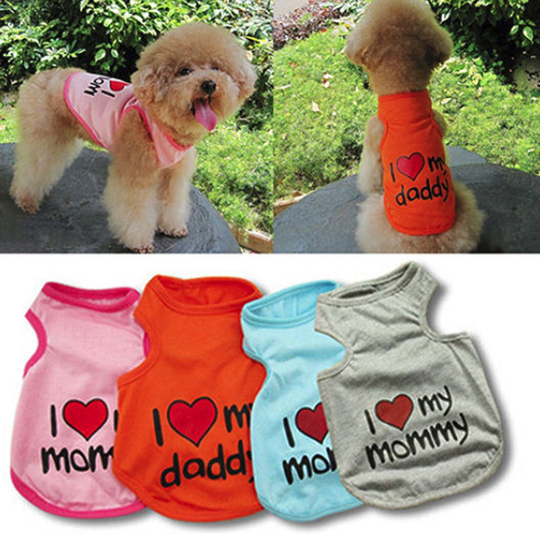 Dog T-Shirt, I Love Mommy or Daddy