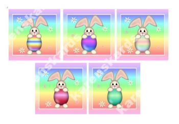 Easter Rainbow Bunny Card Making Toppers