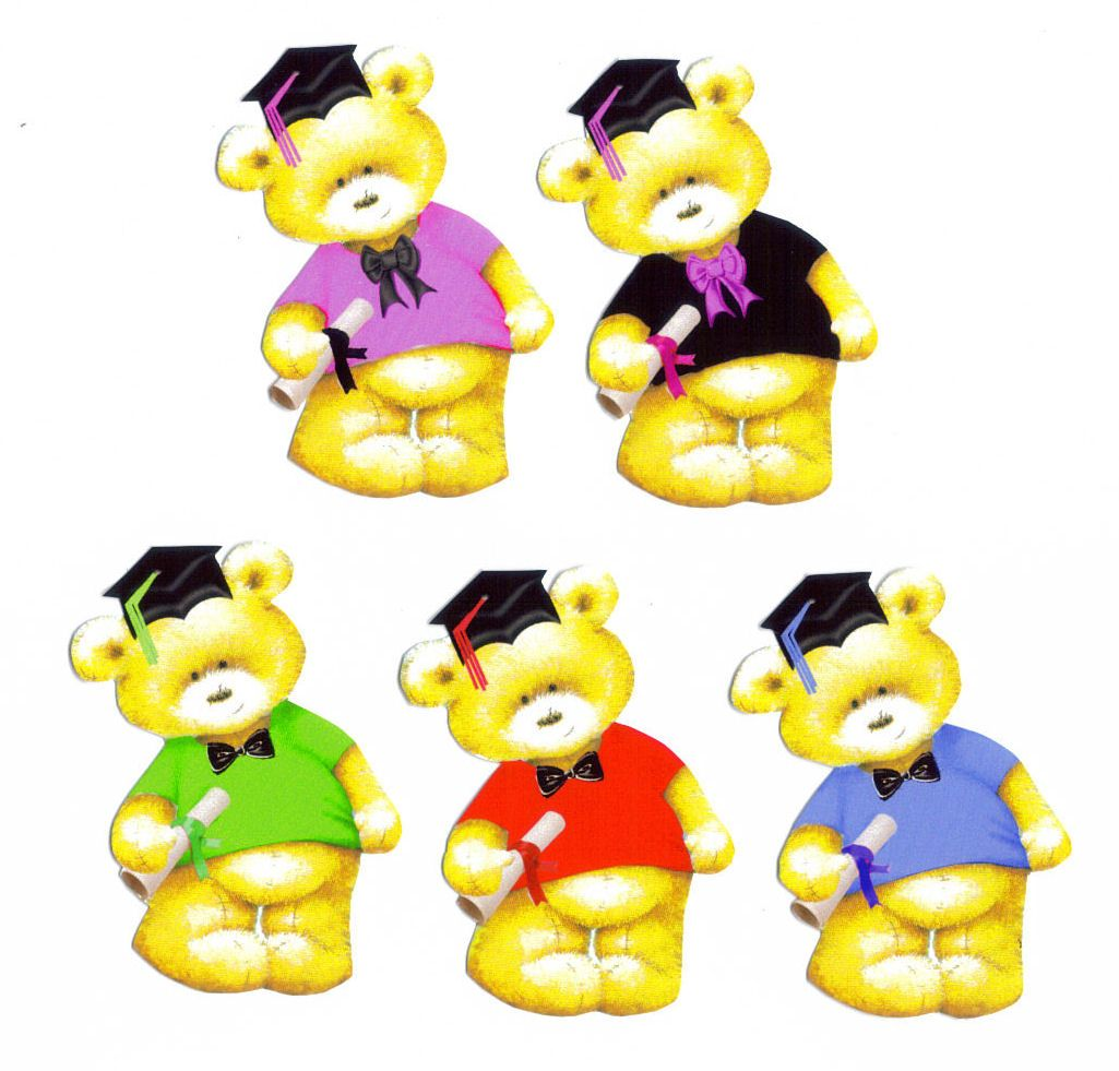 Graduation Teddy Bear Card Toppers x 5