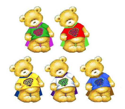 Super Dad Theme Teddy Bear Card Toppers