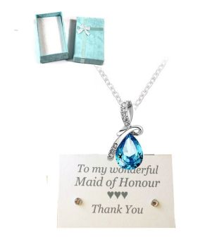 Maid of Honour Pendant Necklace - Aqua Turquoise