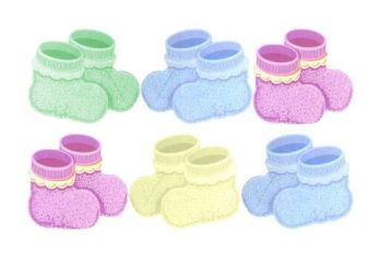Baby Booties Card Making Toppers x 6