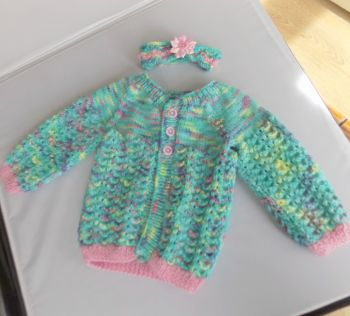 Aqua Mermaid Baby Knitted Coat and Headband Set