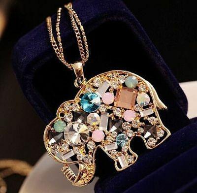 Gold Gemstone Elephant Pendant Long Necklace