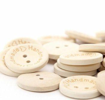 Natural Handmade Wooden Button Embellishments x 10