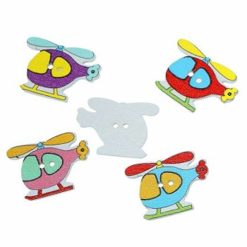 Wooden Helicopter Button Embellishments x 10