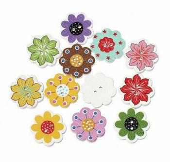 Flower Wooden Craft Embellishments x 10