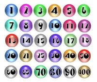 Round Paper Number Embellishments x 30