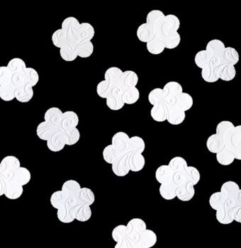 Embossed White Flowers Crafting Embellishments x 24
