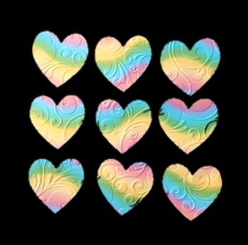 Embossed Rainbow Hearts Crafting Embellishments x 24