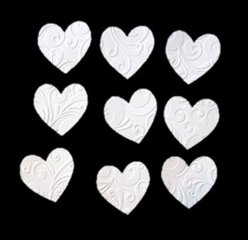 Embossed White Hearts Crafting Embellishments x 24