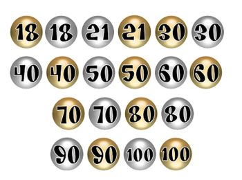 Gold and Silver Round Paper Number Embellishments x 20