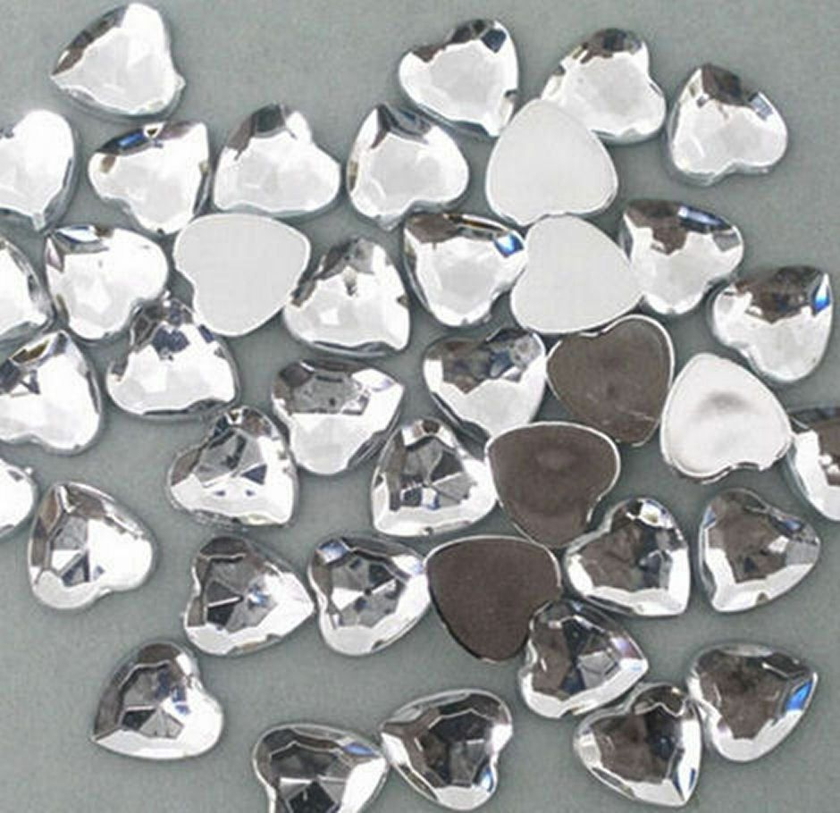 Heart Crystal Rhinestone Gems Craft Embellishments, Table Scatters x 48