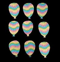 Embossed Rainbow Balloons Crafting Embellishments x 20