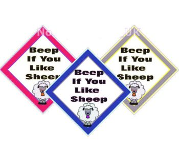 Window car sign, mobile home, caravan sign - Beep If You Like Sheep