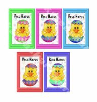 Welsh Happy Easter Chicks in Eggs Card Toppers