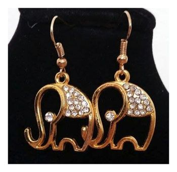 Elephant Earrings in a Gold Shade - Handcrafted