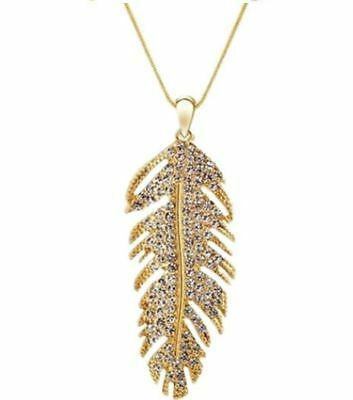 Gold feather pendant necklace