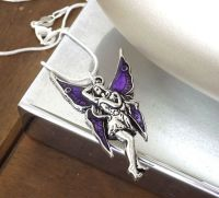 Enchanted Purple Fairy Silver Pendant Necklace
