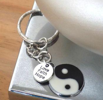 Yin Yang Keyring, Love, Faith, Hope