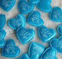 Heart Shaped Fabric I Love You Embellishments - Blue