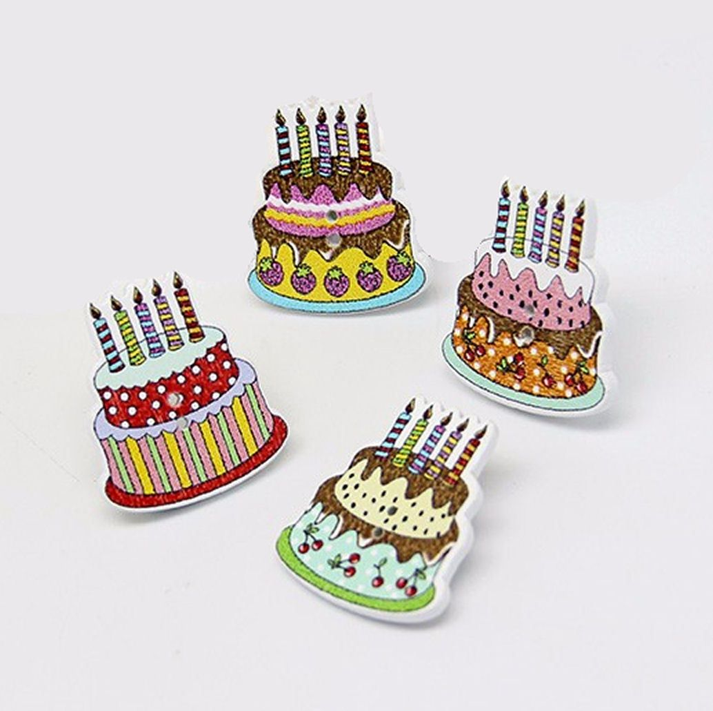 Birthday Cake Wooden Button Embellishments x 10