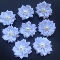 White fabric flowers with pearl detail craft embellishments