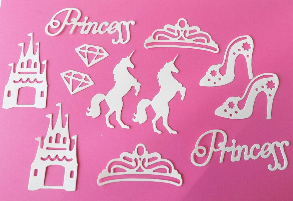 White Princess, Castle, Unicorn Set of Die Cut Crafting Embellishments