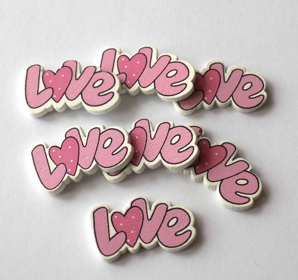 Love Wooden Craft Embellishments Pink x 4