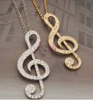 Music Note Musical Pendant Necklace in Gold or Silver Shade