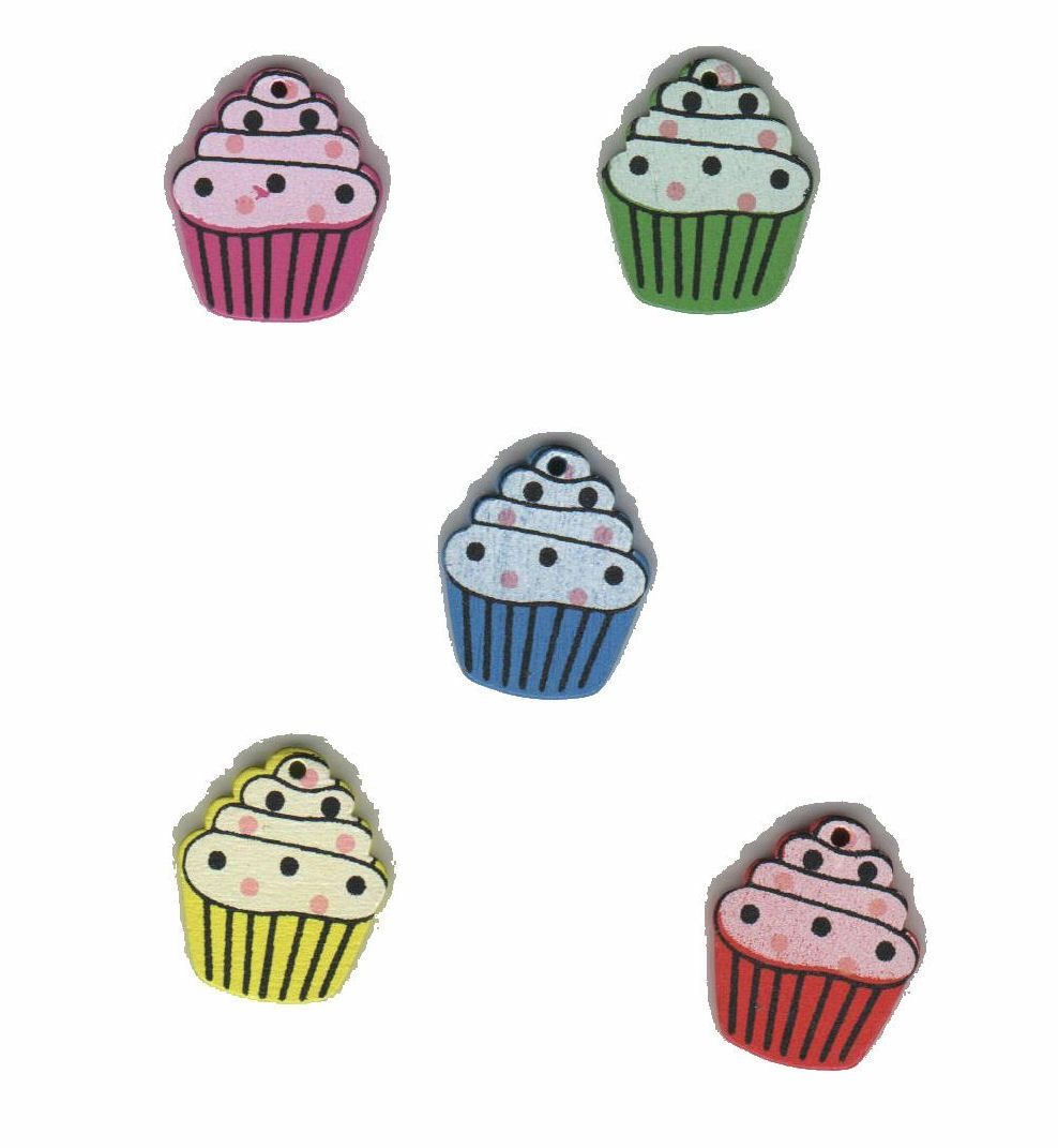 Wooden Mini Cupcake Craft Embellishments Beads