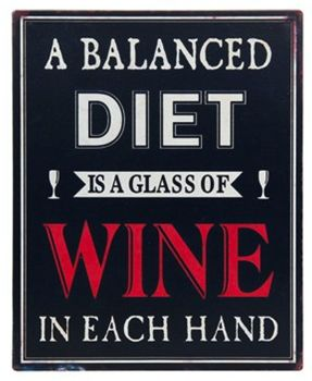 Wine Plaque - Balanced Diet Wine Theme