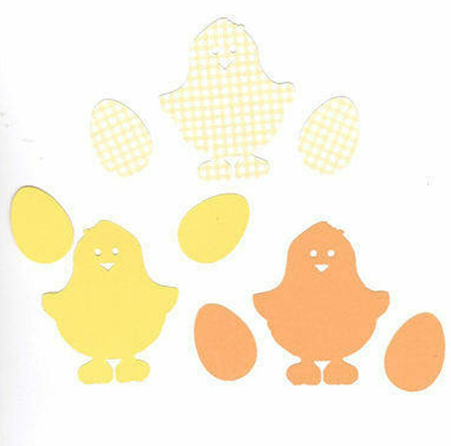 Yellow Easter Chicks and Eggs Die Cut Craft Embellishments x 30
