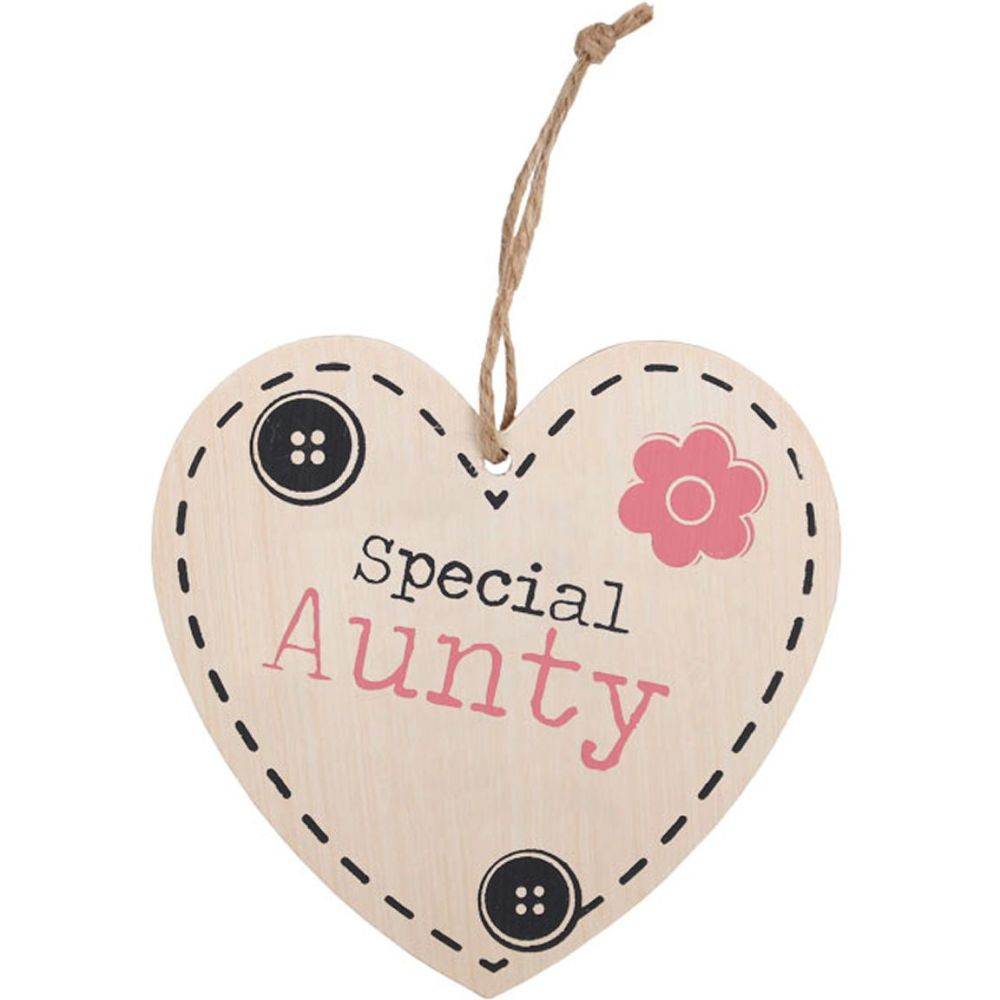 Aunty Hanging Wooden Heart Plaque