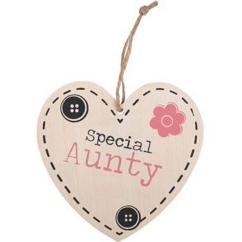 Aunty Hanging Wooden Heart Plaque