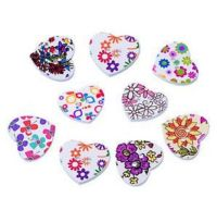 Wooden Floral Hearts Buttons Craft Embellishments x 10