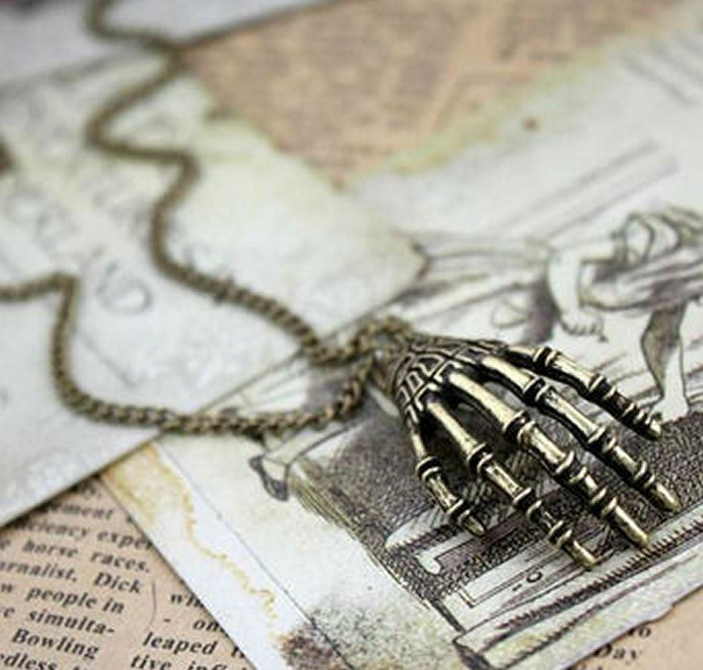 Skeleton Hand Gothic Pendant Necklace