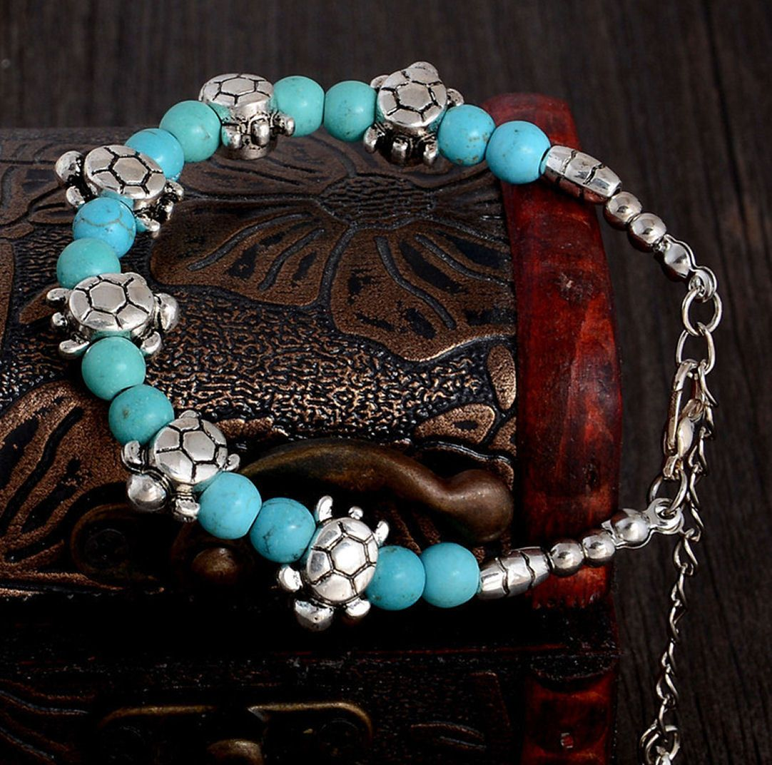 Tortoise Bracelet with Turquoise and Tibetan Silver Detailing
