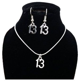 13th Birthday Silver Jewellery Earring and Necklace Gift Set