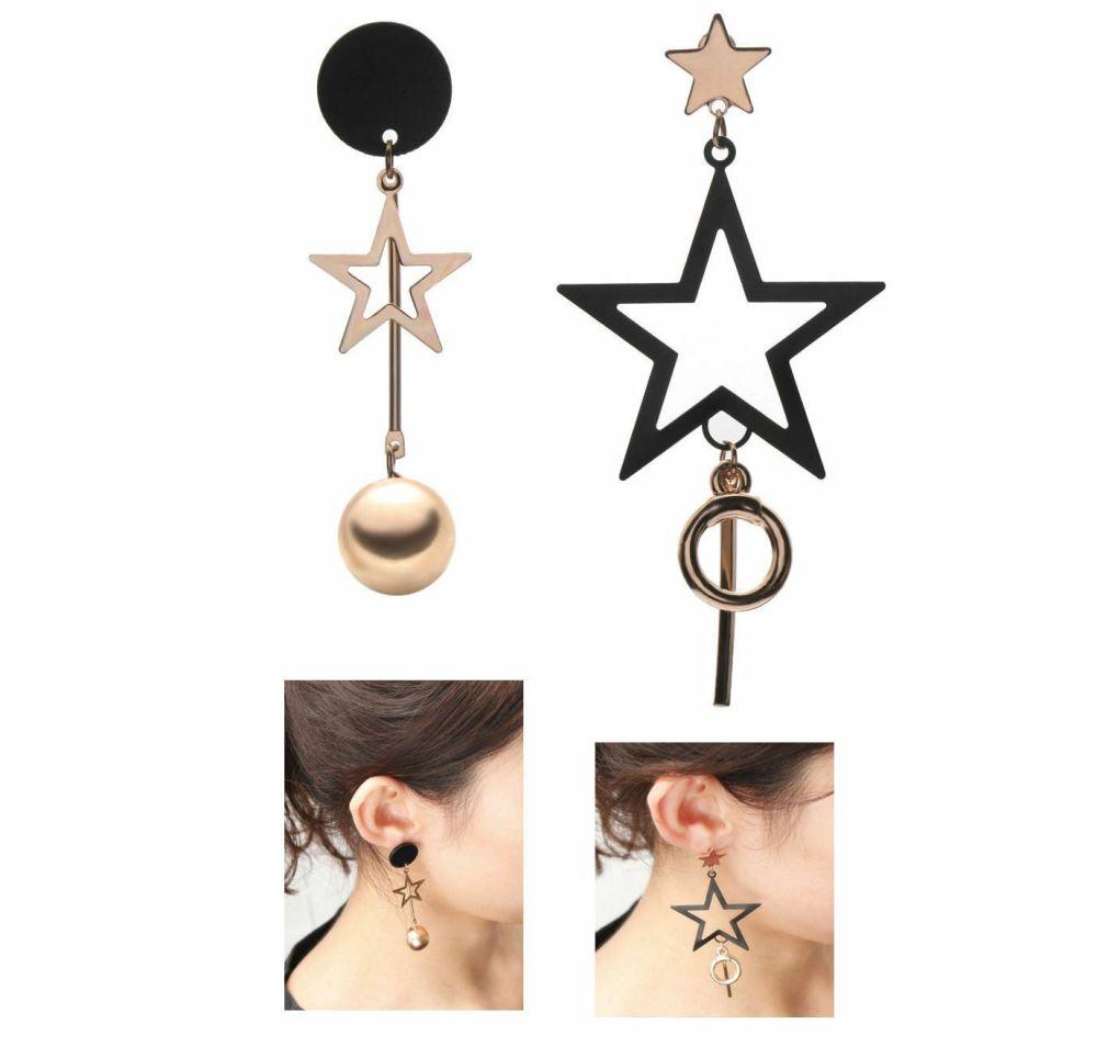 Asymmetrical Earrings Black and Gold Star Drop Earrings