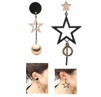 Asymmetrical Earrings Black and Gold Star Drop Earrings