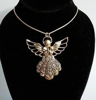 Guardian Angel Pendant with Silver Necklace, Handcrafted