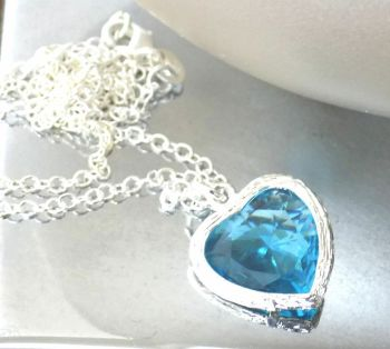 Blue Heart Crystal Silver Pendant Necklace