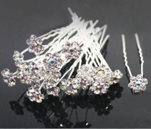 Flower Crystal Hairpin Hair Grips x 20