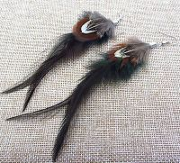 Dark Green Feather Earrings