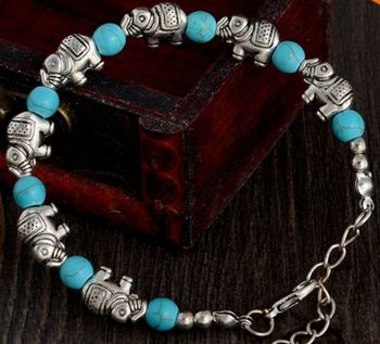 Elephant Bracelet with Turquoise & Tibetan Silver Detailing